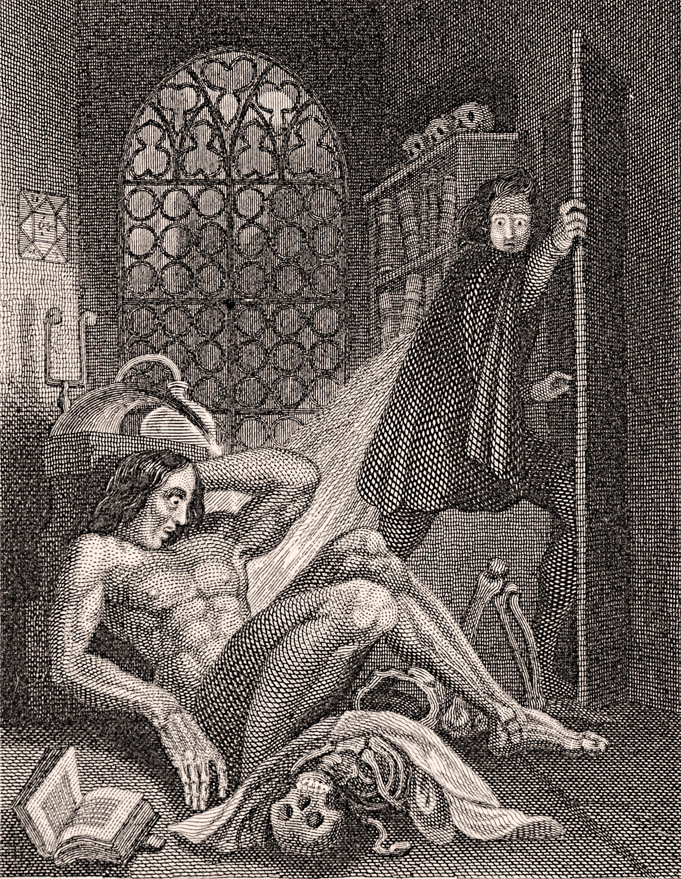 Ilustración de Theodor von Holst para la edición de Frankenstein de 1831